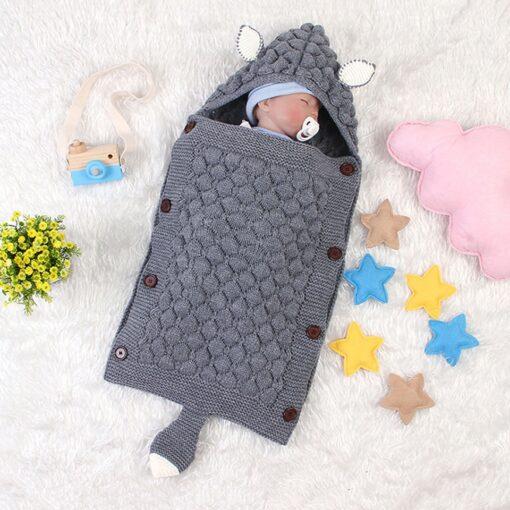 Fox Knitted Newborn Baby Blanket Baby Sleeping Bags Stroller Bedding Winter Warm Swaddle Wrap Autumn Envelopes 2