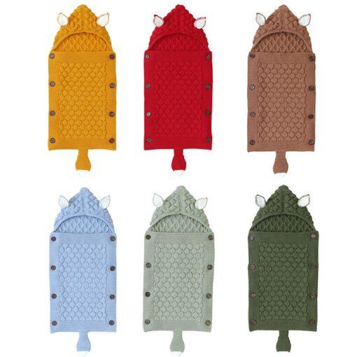 Fox Knitted Newborn Baby Blanket Baby Sleeping Bags Stroller Bedding Winter Warm Swaddle Wrap Autumn Envelopes 3
