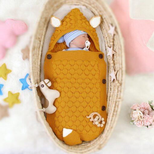 Fox Knitted Newborn Baby Blanket Baby Sleeping Bags Stroller Bedding Winter Warm Swaddle Wrap Autumn Envelopes