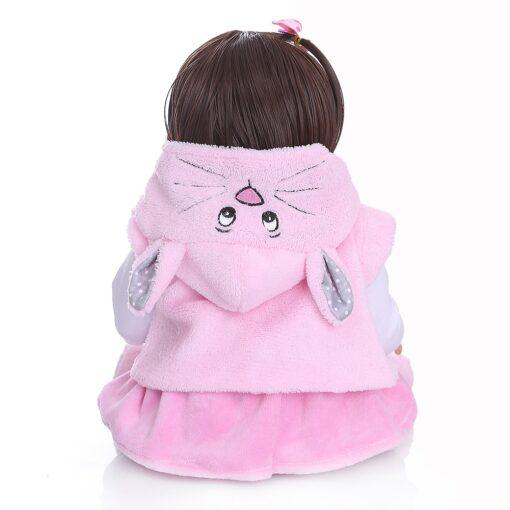 Free shipping from Brazil NPK 48CM bebe reborn toddler girl doll in pink rabbit dress full 1