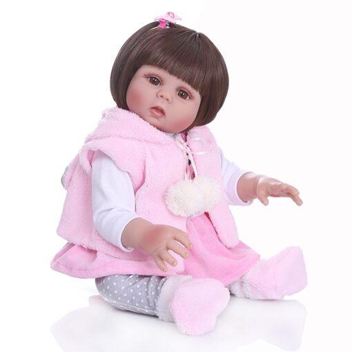 Free shipping from Brazil NPK 48CM bebe reborn toddler girl doll in pink rabbit dress full 2