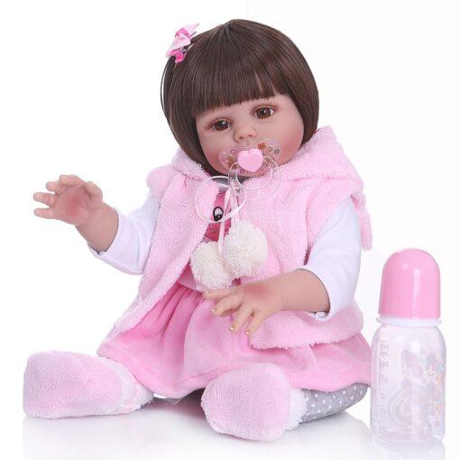 Free shipping from Brazil NPK 48CM bebe reborn toddler girl doll in pink rabbit dress full 3