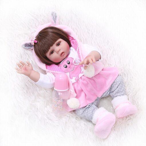 Free shipping from Brazil NPK 48CM bebe reborn toddler girl doll in pink rabbit dress full 4