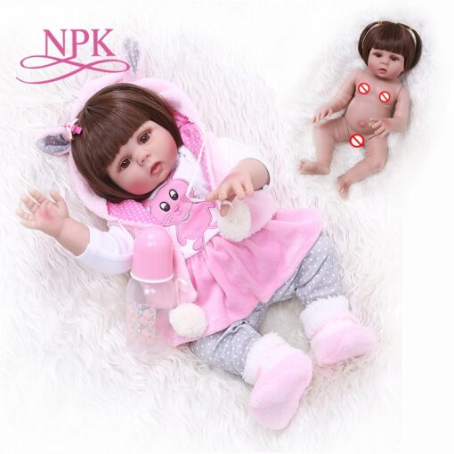 Free shipping from Brazil NPK 48CM bebe reborn toddler girl doll in pink rabbit dress full