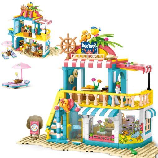 Friends Beach Camping RV Villa Water Park Building Block Christmas Snow House Cartoon Brick Toys for 3