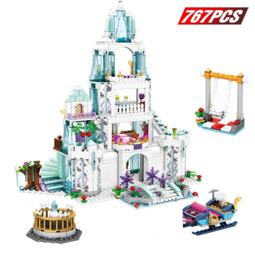 Friends Ice Princess Castle Building Block Christmas Winter Snow House Cartoon Brick Toys for Girls Toys 1