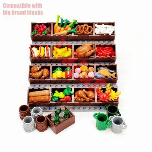 Full Set DIY Building Blocks Food Bread Fish Fruit Roast Chicken Toys MOC Parts City Accessories 2