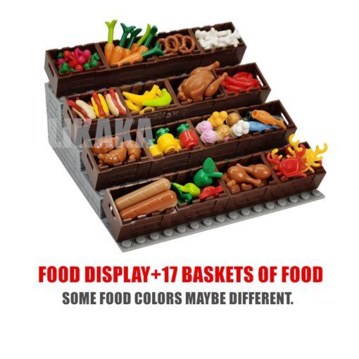 Full Set DIY Building Blocks Food Bread Fish Fruit Roast Chicken Toys MOC Parts City Accessories 3