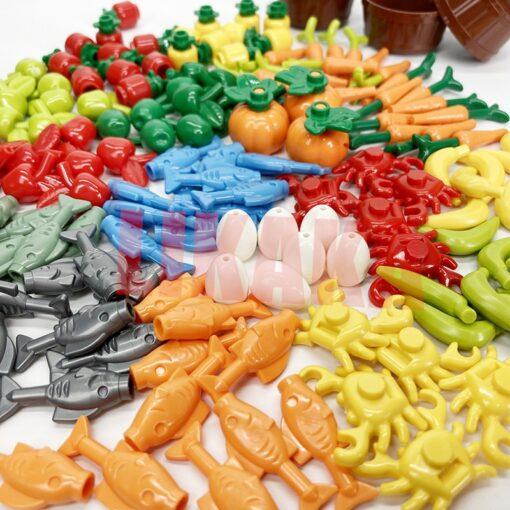 Full Set DIY Building Blocks Food Bread Fish Fruit Roast Chicken Toys MOC Parts City Accessories 5