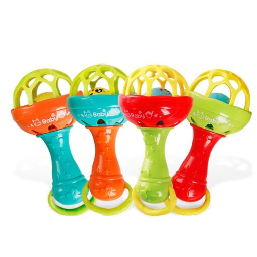 Fun games baby soft rubber teether rattle rod multi functional baby rattle stick with teether baby 1
