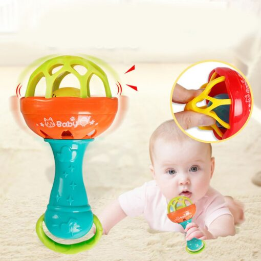 Fun games baby soft rubber teether rattle rod multi functional baby rattle stick with teether baby 2