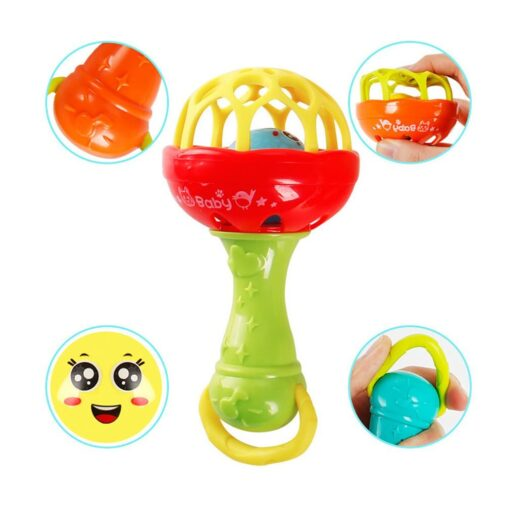 Fun games baby soft rubber teether rattle rod multi functional baby rattle stick with teether baby 3