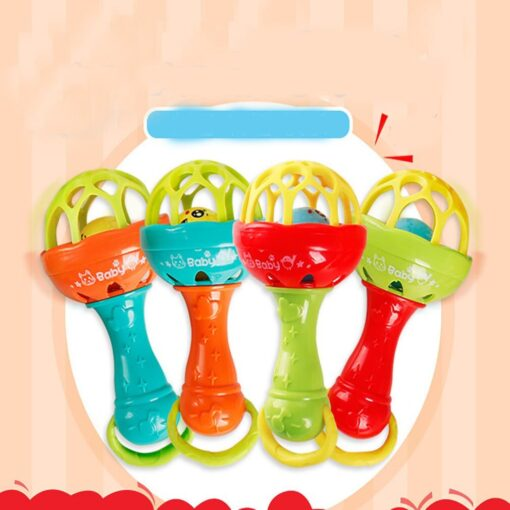 Fun games baby soft rubber teether rattle rod multi functional baby rattle stick with teether baby 4