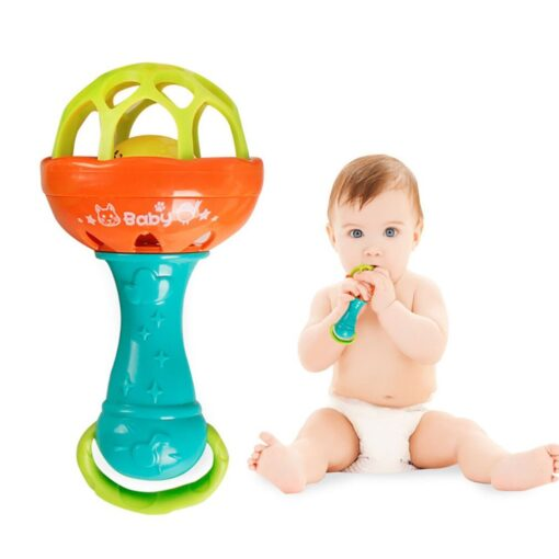 Fun games baby soft rubber teether rattle rod multi functional baby rattle stick with teether baby