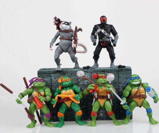 Funny 6pcs lot Mutant Turtles Movie 12cm Master Splinter Leonardo Raphael Michelangelo Donatello Model doll