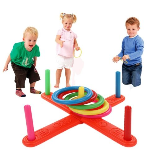 Funny Kids Outdoor Sport Toys Hoop Ring Toss Plastic Ring Toss Quoits Garden Game Pool Toy