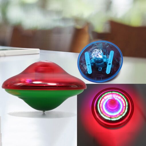 Funny Random Color UFO Music Gyro With LED Light Classic Flash Gyro Toy For Kids Flash