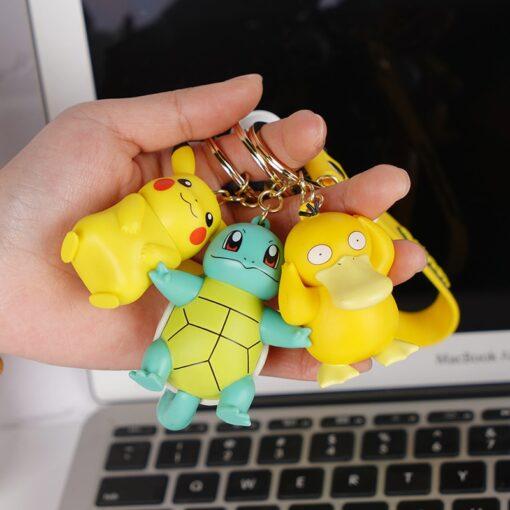 Genuine Pokemon Action Figure Pikachu Keychain Pok mon Keychain Squirtle Psyduck Keychain Model Car Keychain 2