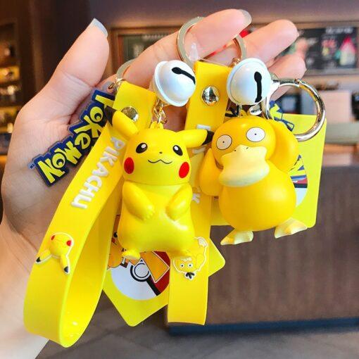 Genuine Pokemon Action Figure Pikachu Keychain Pok mon Keychain Squirtle Psyduck Keychain Model Car Keychain 3