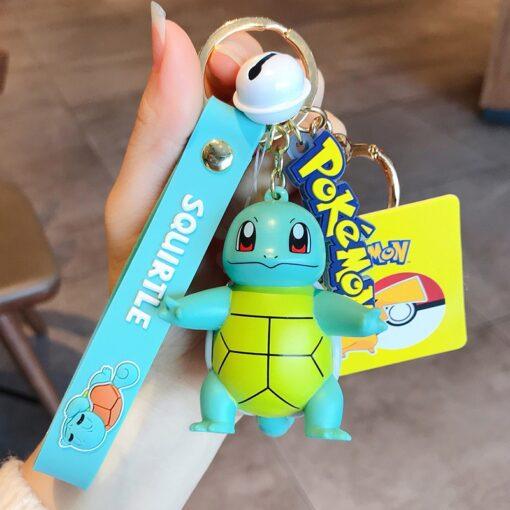 Genuine Pokemon Action Figure Pikachu Keychain Pok mon Keychain Squirtle Psyduck Keychain Model Car Keychain 4