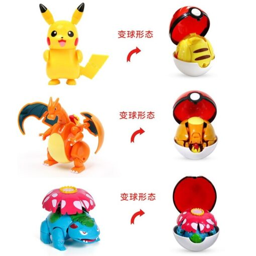 Genuine Pokemon Figure Elf Ball Model Pikachu Lunala Charizard Action Figure Model Pokemon Elf ball Toy 2