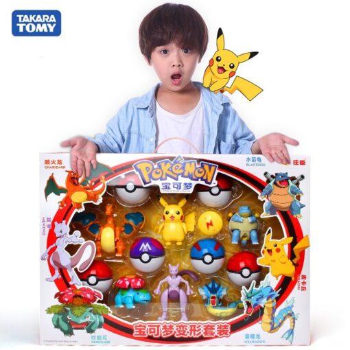 Genuine Pokemon Figure Elf Ball Model Pikachu Lunala Charizard Action Figure Model Pokemon Elf ball Toy