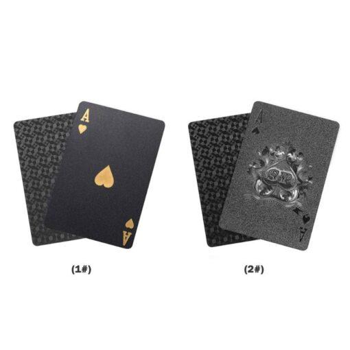 Golden Playing Cards Set Waterproof Plastic PVC Black Color Poker Cards Sets Magic Tricks Poker Creative 3