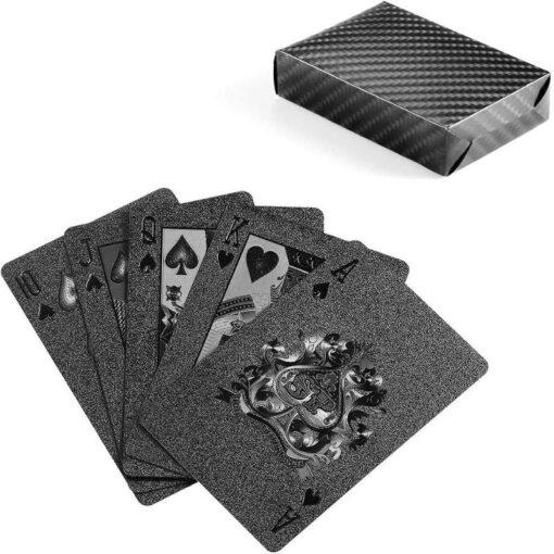 Golden Playing Cards Set Waterproof Plastic PVC Black Color Poker Cards Sets Magic Tricks Poker Creative 4