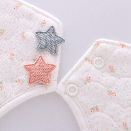 Good Quality 360 Degree Rotation Baby Girl Boy Cute Bibs Clear Cotton Star Shape Newborn Infant 2