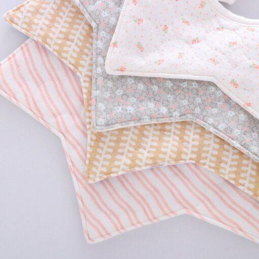 Good Quality 360 Degree Rotation Baby Girl Boy Cute Bibs Clear Cotton Star Shape Newborn Infant 3