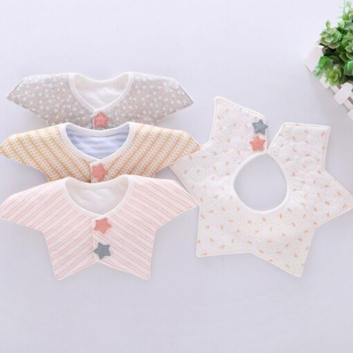 Good Quality 360 Degree Rotation Baby Girl Boy Cute Bibs Clear Cotton Star Shape Newborn Infant 6