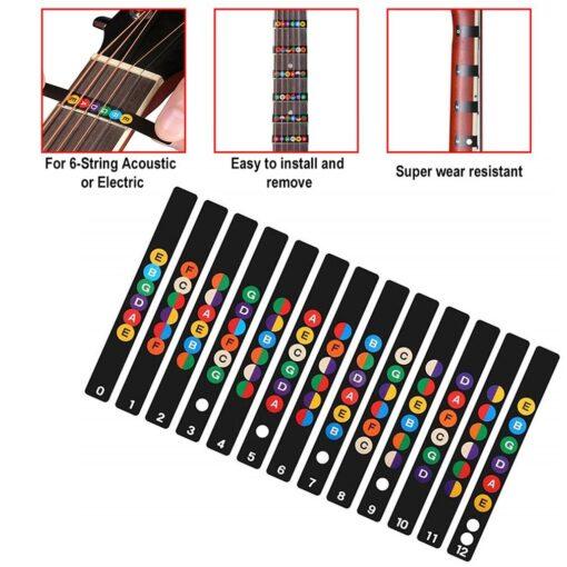 Guitar Neck Fretboard Note Map Fret Sticker Lables Decals Learn Beginner Fret Scale Fingerboard Electric Guitarra 9