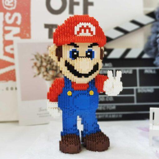 HC 1006 Video Game Super Mario Victory Mario Hero 3D Model DIY Mini Diamond Blocks Bricks 2