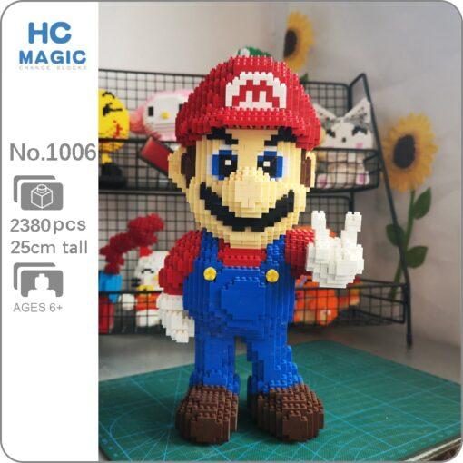 HC 1006 Video Game Super Mario Victory Mario Hero 3D Model DIY Mini Diamond Blocks Bricks