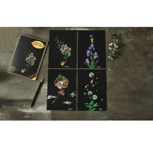 HIINST children s toys Puzzle stickers 4pcs 20x14cm Magic Scratch Art Painting Paper With Drawing Stick 2