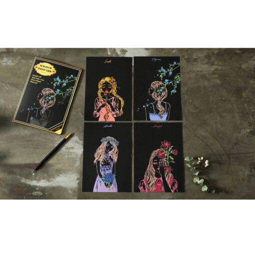 HIINST children s toys Puzzle stickers 4pcs 20x14cm Magic Scratch Art Painting Paper With Drawing Stick 3