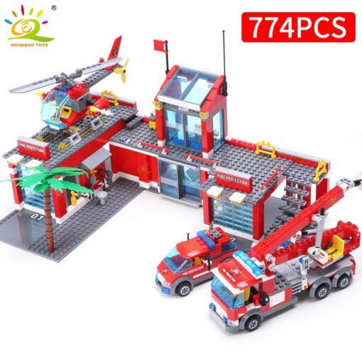HUIQIBAO Blocks Toy 774pcs Fire Station Model Building Blocks City Construction Firefighter Truck Educational Bricks Toys 1