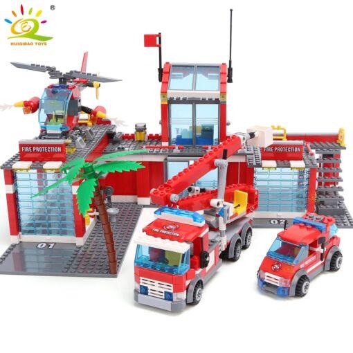 HUIQIBAO Blocks Toy 774pcs Fire Station Model Building Blocks City Construction Firefighter Truck Educational Bricks Toys 2