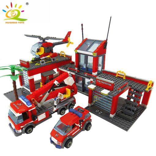 HUIQIBAO Blocks Toy 774pcs Fire Station Model Building Blocks City Construction Firefighter Truck Educational Bricks Toys 3
