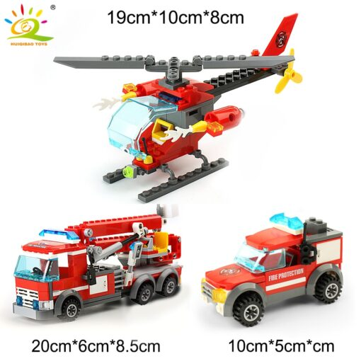 HUIQIBAO Blocks Toy 774pcs Fire Station Model Building Blocks City Construction Firefighter Truck Educational Bricks Toys 4