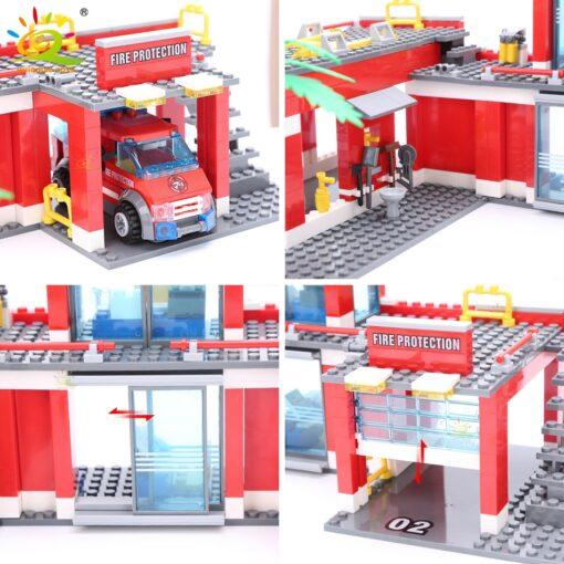 HUIQIBAO Blocks Toy 774pcs Fire Station Model Building Blocks City Construction Firefighter Truck Educational Bricks Toys 5