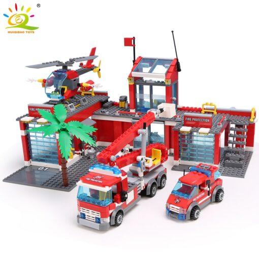 HUIQIBAO Blocks Toy 774pcs Fire Station Model Building Blocks City Construction Firefighter Truck Educational Bricks Toys
