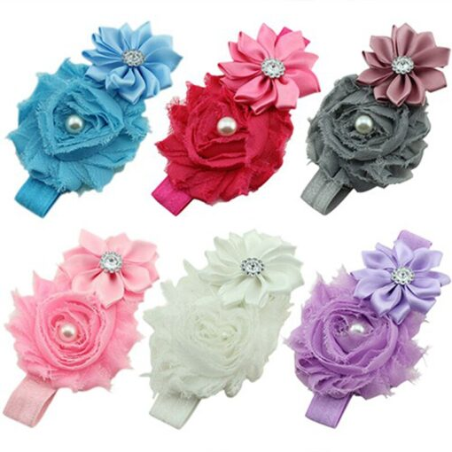 Hair Accessories Lovely Baby Headband Fake Flower Nylon Hair Bands For Kids Artificial Floral Elastic Head 1