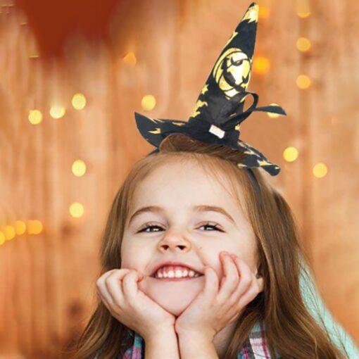 Halloween Decoration Kids Headwear Witch Headband Witch Hat Poin Hat Hair Clip Children Cartoon Headwear Photo