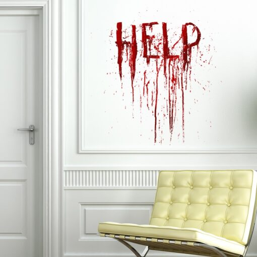 Halloween Help fingerprints Blood Wall Stickers Self adhesive Removable Window Glass Decals Living Room Bedroom Decoration 3