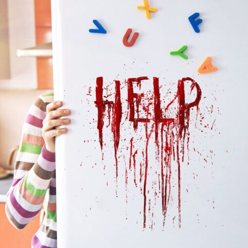 Halloween Help fingerprints Blood Wall Stickers Self adhesive Removable Window Glass Decals Living Room Bedroom Decoration