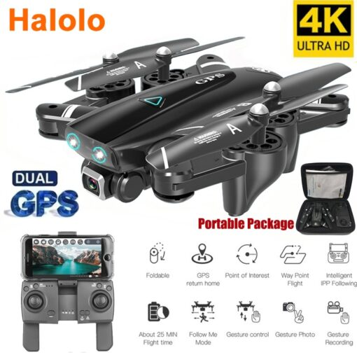 Halolo S167 5G GPS Foldable Profissional Drone with Camera 4K HD Selfie Wide Angle RC Quadcopter