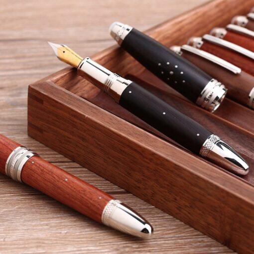 Handmade Moonman M1000 Wood Fountain Pen BOCK Nib Rivet Pearl Top Writing Pen 4