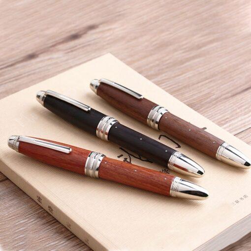 Handmade Moonman M1000 Wood Fountain Pen BOCK Nib Rivet Pearl Top Writing Pen
