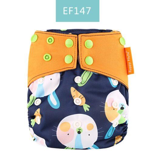 Happy Flute 1 pcs bamboo charcoal heavy wetter night AIO AI2 baby eco friendly cloth diaper 2